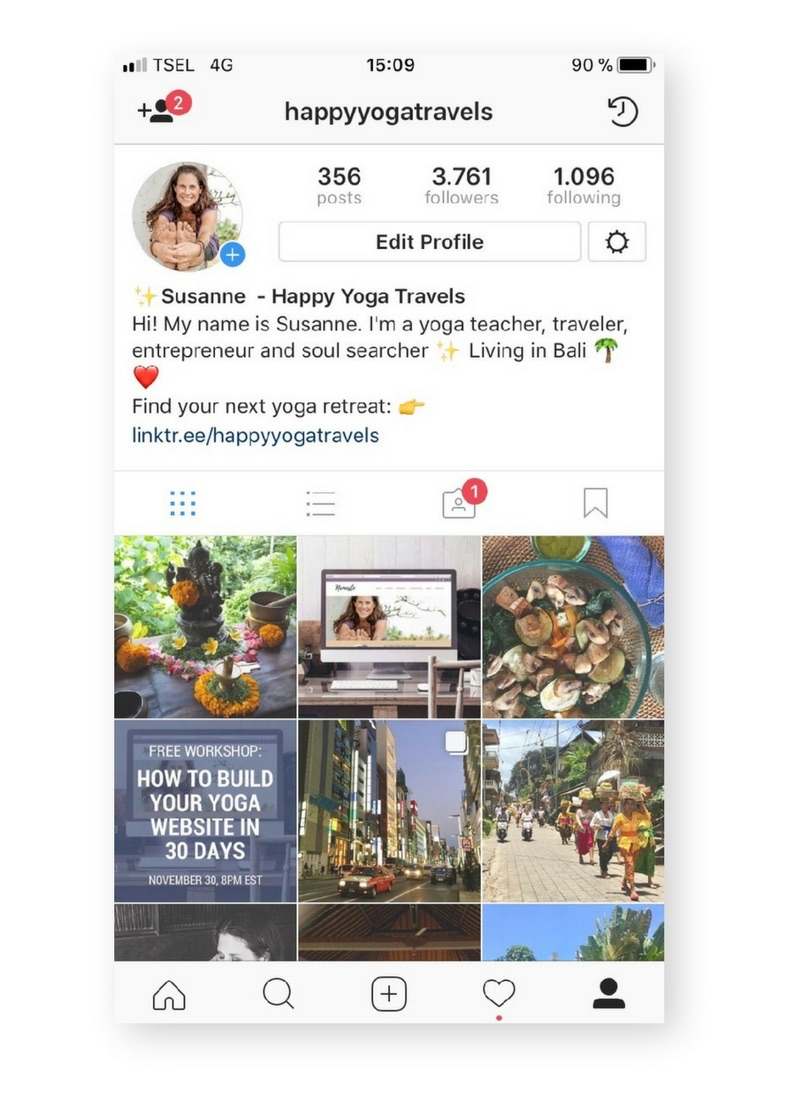Instagram Profile Happy Yoga Travels