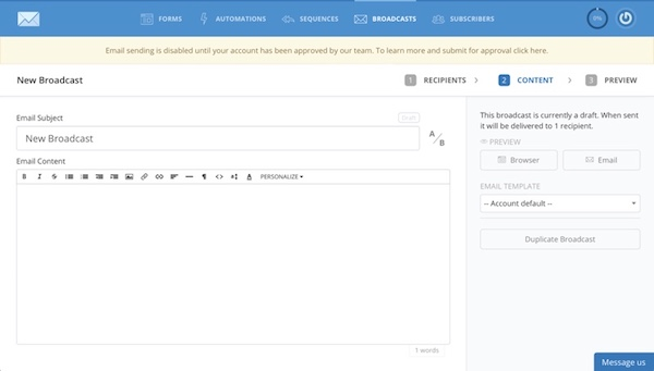 How to get Started with ConvertKit: send out email