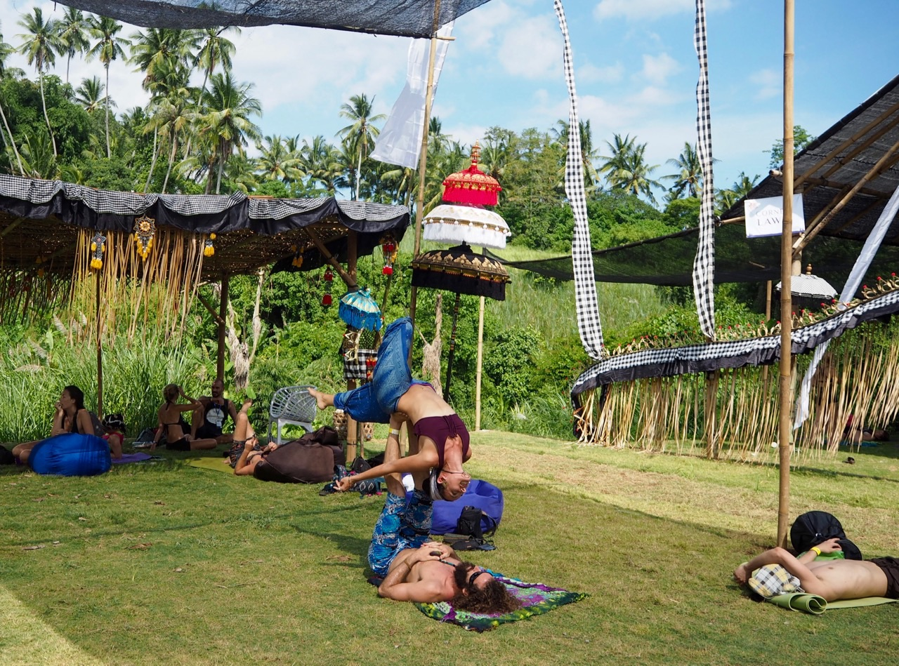 Acro yoga at Volunteering at Bali Spirit Festival
