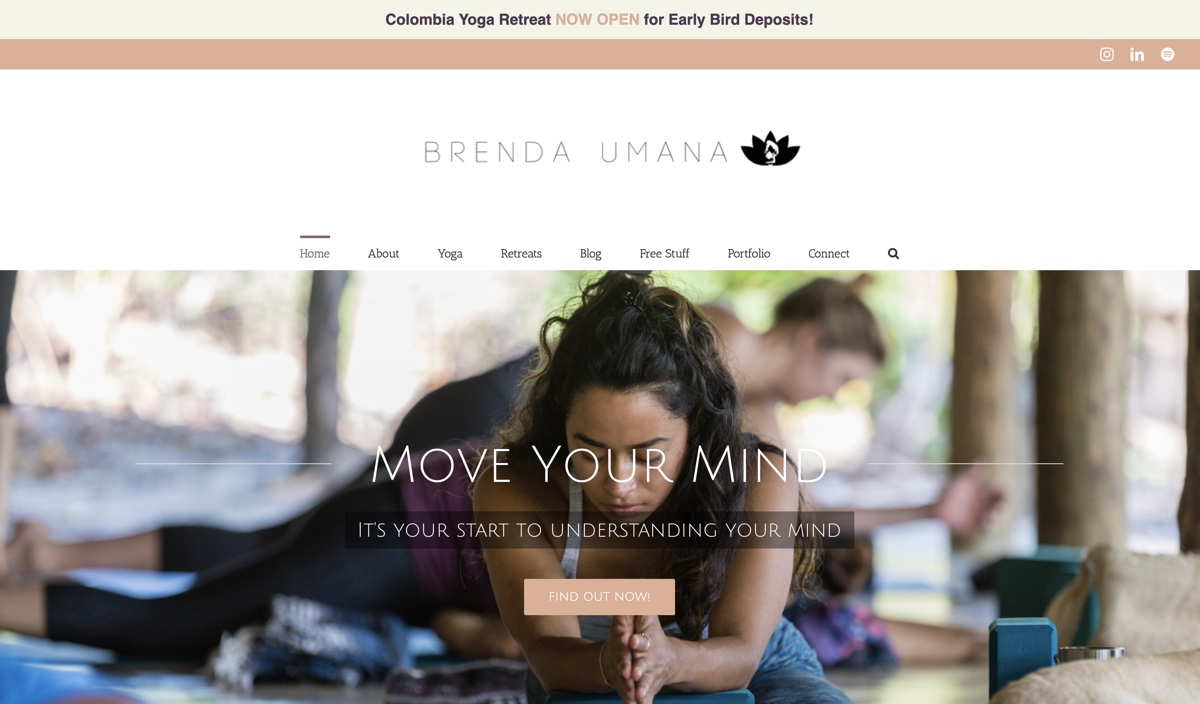 Brenda yoga teacher website