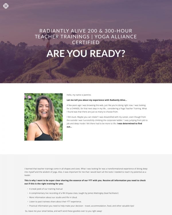 Radiantly Alive Yoga Website